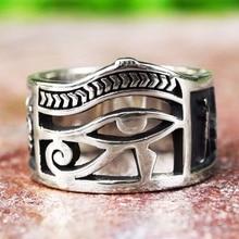 Vintage hombres mujeres Color plata Ojo de Horus egipcio Ankh Cruz simbólicos anillos Egipto joyas de amuleto regalo