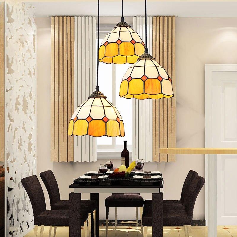 مصباح معلق زجاجي ملون على الطراز العتيق المتوسطي ، مصباح E27 معلق ، ديكور داخلي ، DIY ، غرفة المعيشة