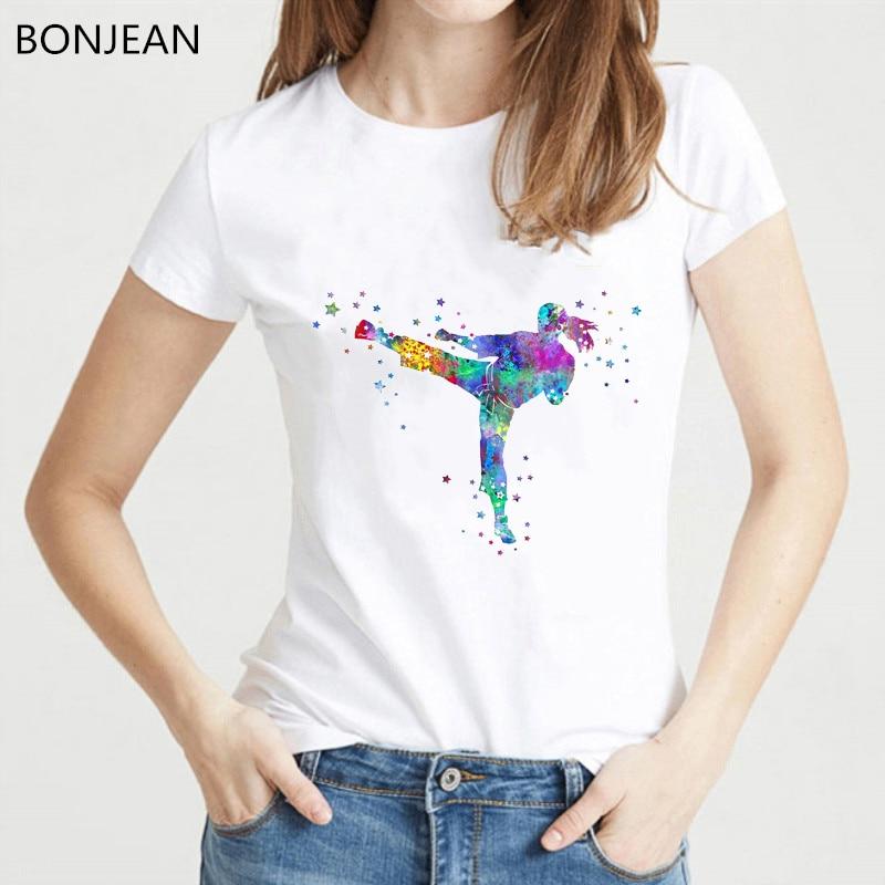 Женская футболка с акварельным принтом Karate fighter, уличная Футболка с принтом для девочек, новинка 2019