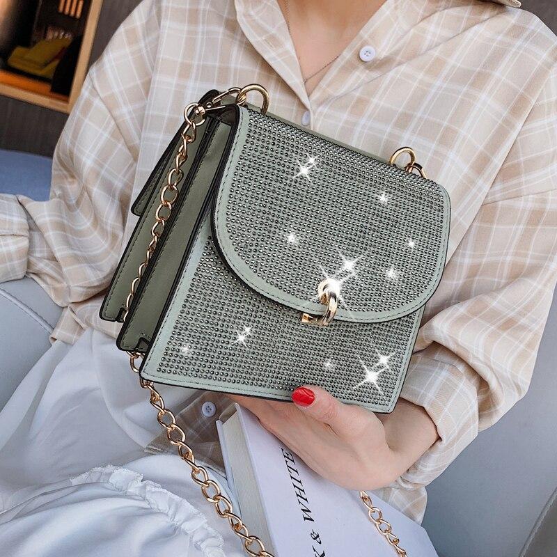 Bolso cuadrado de diamante 2019 moda de verano nuevo cuero de PU de alta calidad para mujer bolso de diseñador de cadena de bloqueo de hombro bolsos de mensajero