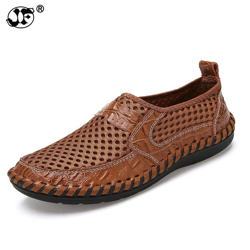 Zapatos de verano de malla transpirable para hombre, zapatos casuales de cuero genuino, zapatos de verano a la moda de marca, zapatos suaves y cómodos para hombre, nuevo asd