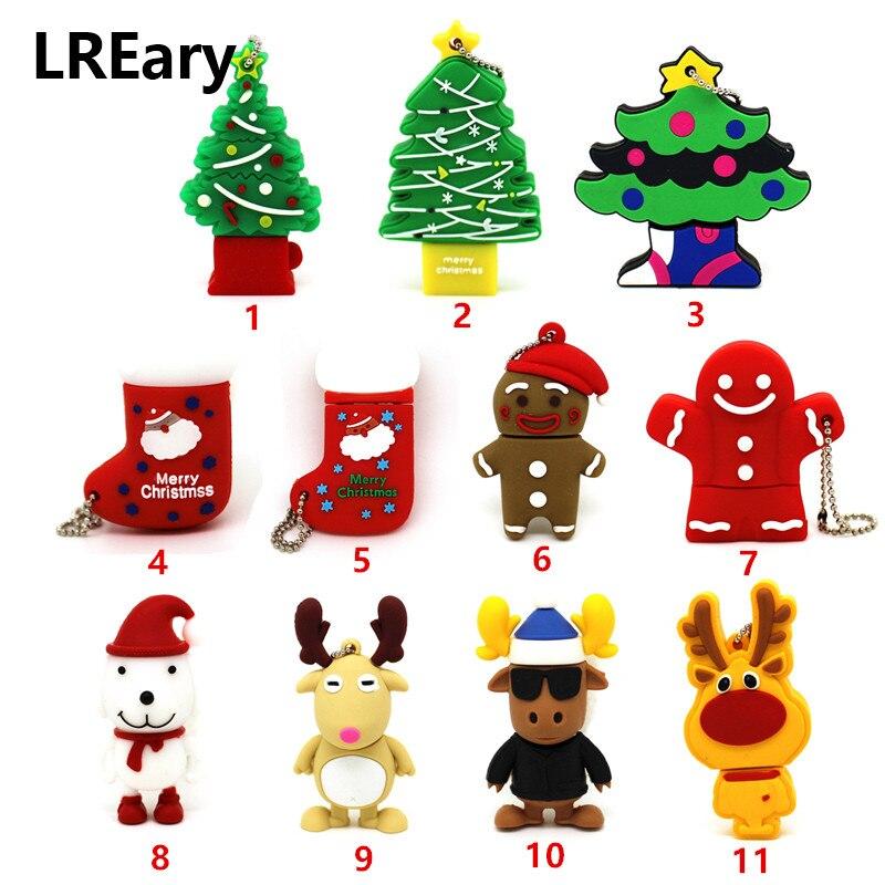 Cão dos desenhos animados USB Flash Drive USB Flash Drive GB 8 4GB GB GB 64 32 16GB Memory Stick Pen Drive árvore de Natal Elk Cervos homem Cookie