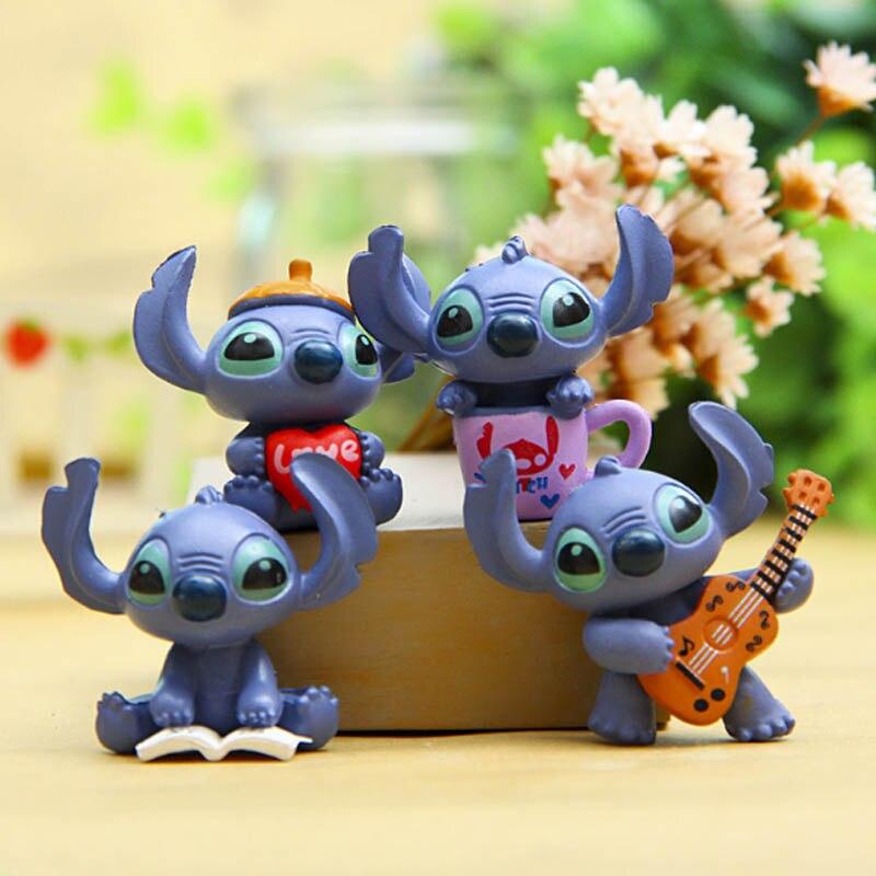 4pcs Mini Stitch Action Figure Toys Set DIY Baking Doll Kwaii Stitch Lilo Cake Decoration Anime Figure Toys for Children