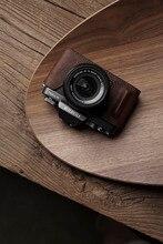 M. Stone étui en cuir véritable pour appareil photo Vintage demi-sac vidéo fait main pour Fuji XT100 Fujifilm XT100 X-T100