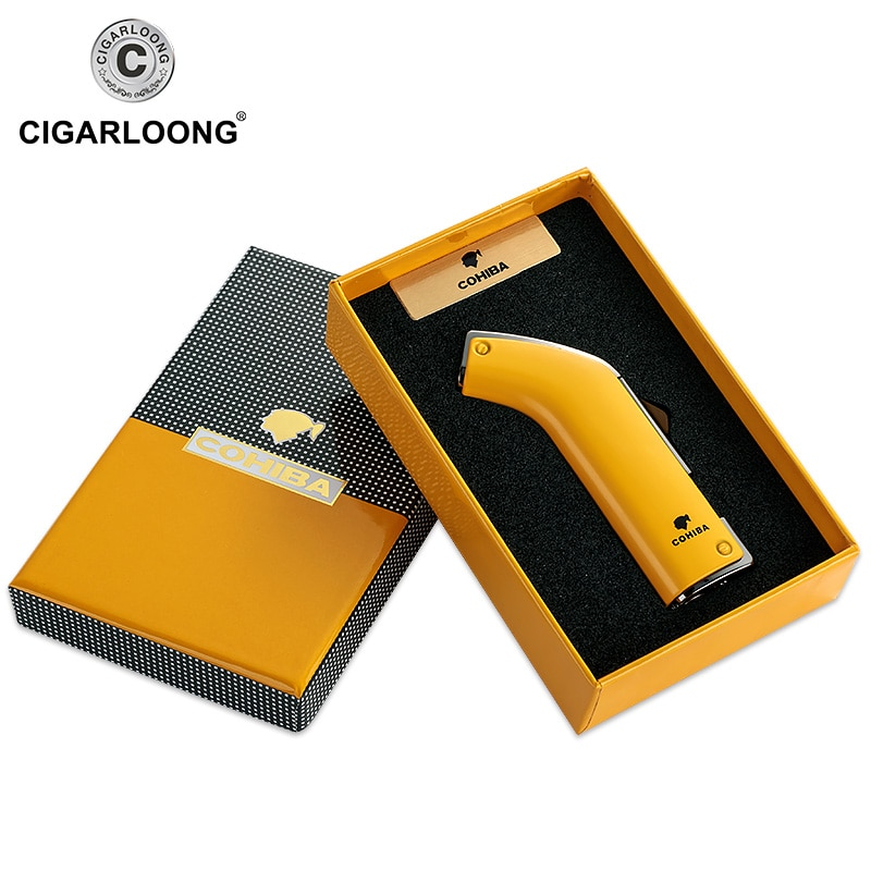 COHIBA Cigar Lighter Double Tube Windproof Metal torch Lighter gasoline cigar lighter jet CH-001