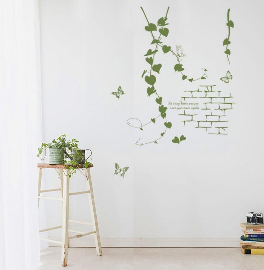 Изящный декор для гостиной, Корейская, современная, зеленая, ротанговая лоза, Бабочка, ПВХ, декоративные наклейки на стену, простой, эстетиче...