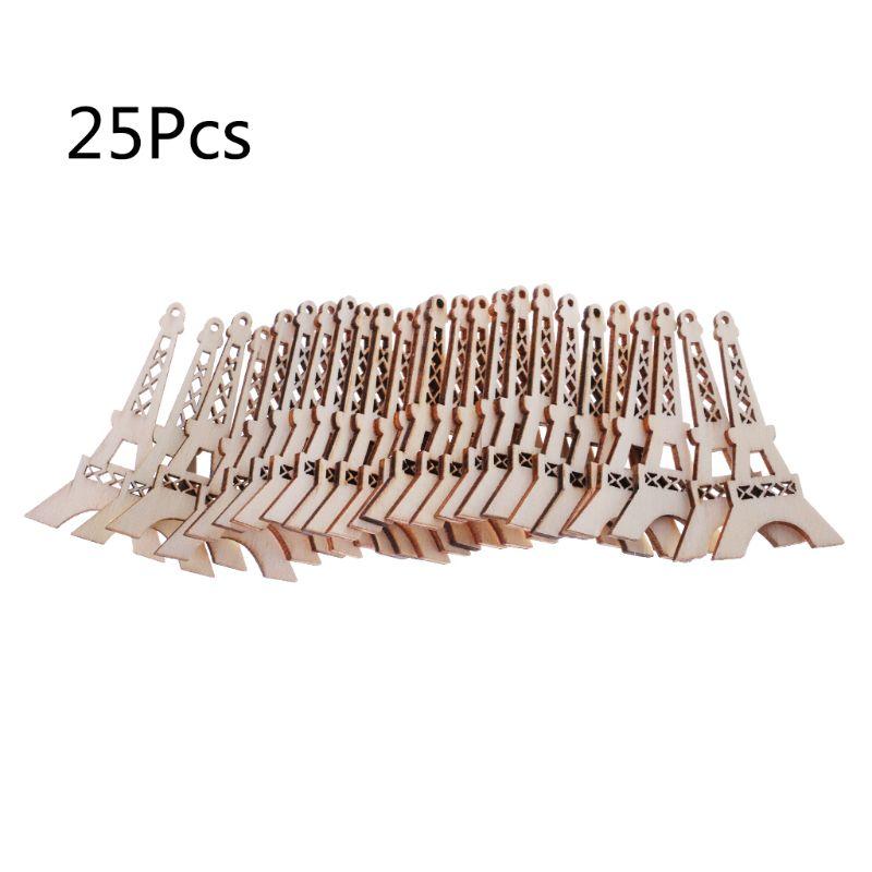 Adorno de madera cortada con láser de 25 uds., para decoración en forma de torre Eiffel, decoración para bodas artesanal
