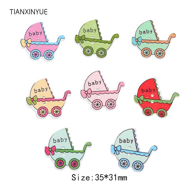 TIANXINYUE 35x31mm pram Button Sewing Scrapbooking Mixed Two Holes Baby Wood Button DIY Clothing Acc