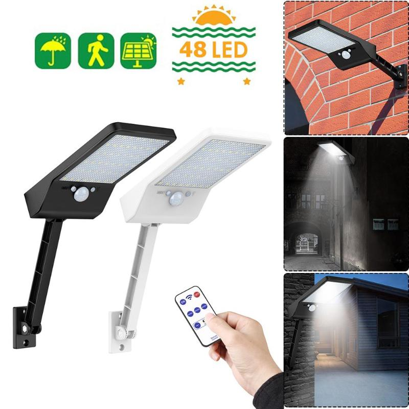משודרג 48 LED שלט רחוק אור שמש PIR Motion חיישן IP65 חיצוני קיר רחוב מנורה עמיד למים מנורת אורות
