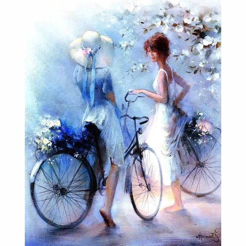 NEW diamond embroidery 5d diy diamond painting Bicycle Girls cross stitch diamond mosaic pictures of rhinestones Home decor