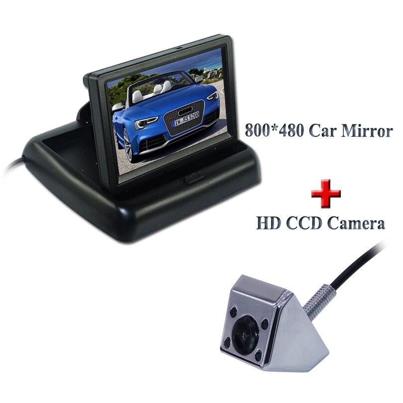 Envío Gratis asistencia para aparcamiento de coches 4,3 pulgadas TFT LCD espejo retrovisor Monitor de coche + 4 luces IR vista trasera de coche Cámara