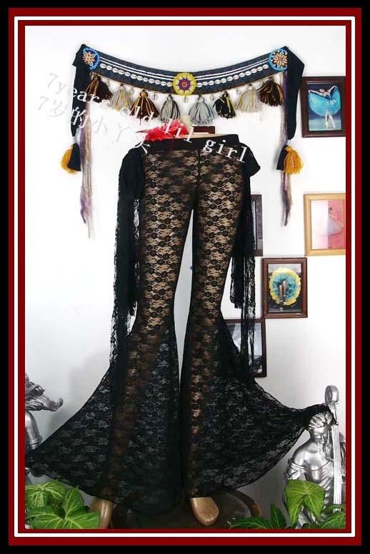 Pantalones de encaje para danza del vientre, pantalón acampanado de encaje gótico Tribal para danza del vientre con cinta DA5-49