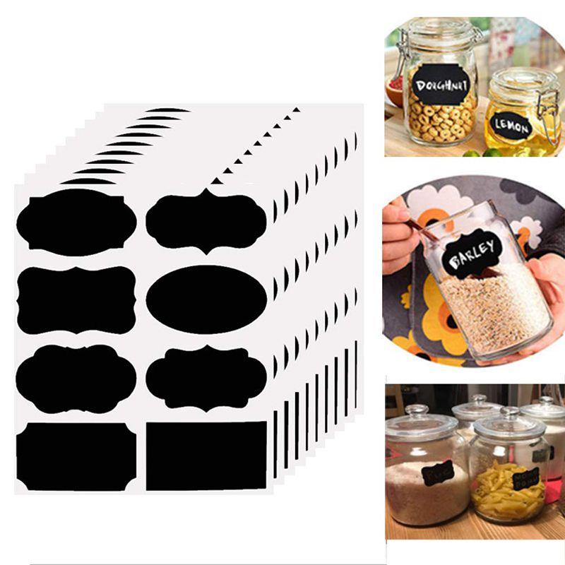 Etiquetas adhesivas a prueba de agua pizarra cocina especias etiqueta pegatinas inicio Jam Jar botella etiquetas pizarra pegatinas marcador