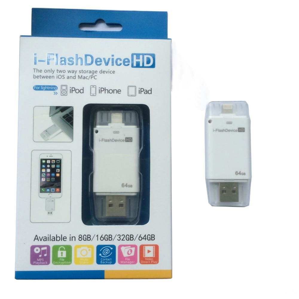 USB Flash Drive For iPhone X 6 6 Plus 7 7S ipad Metal Pen Drive Memory Stick Dual Mobile Otg Micro 16GB 32GB 64GB 128GB Pendriv