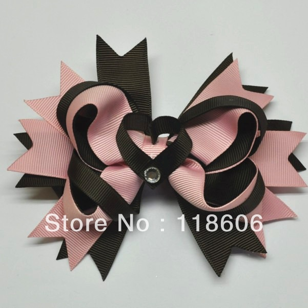 شحن مجاني 100 قطعة/الوحدة القلب الشريط النحت بوتيك الشعر Clippie
