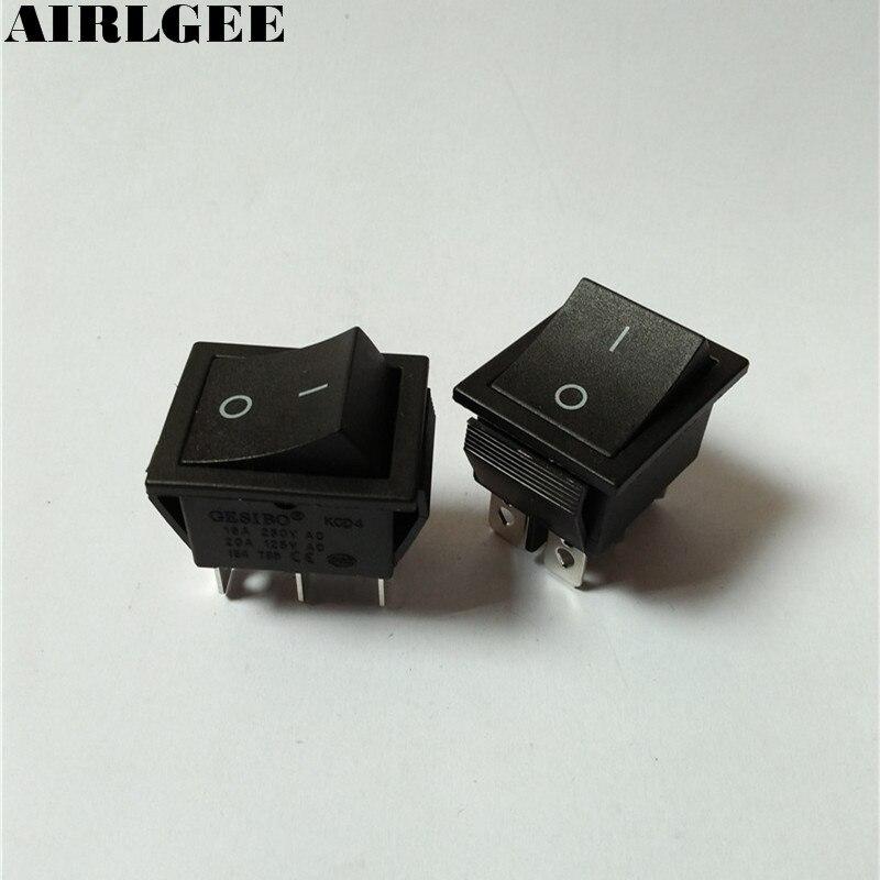 250 V/15A 125 V/20A AC Automático reiniciar Momentary ON/OFF DPDT Rocker Switch 2 Pcs