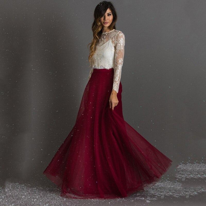 Borgoña longitud del piso A-line mujeres faldas de tul Mujer faldas largas coloridas para mujer Saia Tutu Slirt tul Maxi falda saia longa faldas