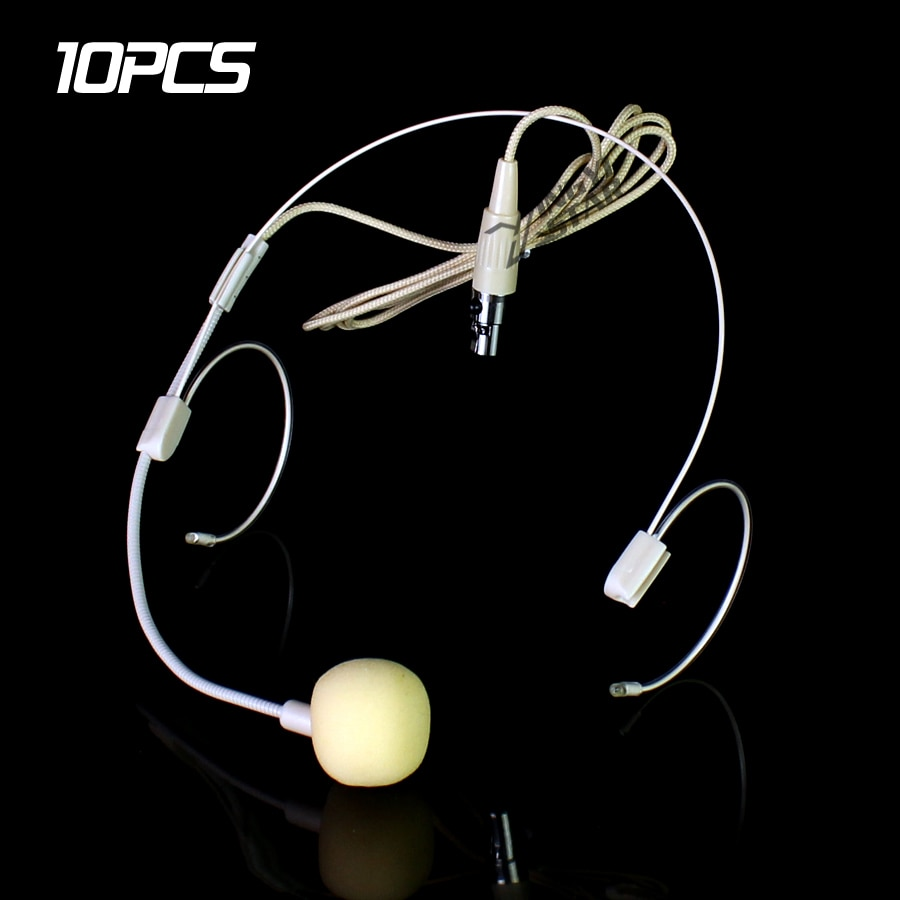 10 pcs Bege Mini XLR Pino TA3F 3 Dual Gancho Headworn Headset Microfone Condensador Para SAMSON microfones Sem Fio Transmissor Beltpack UB7