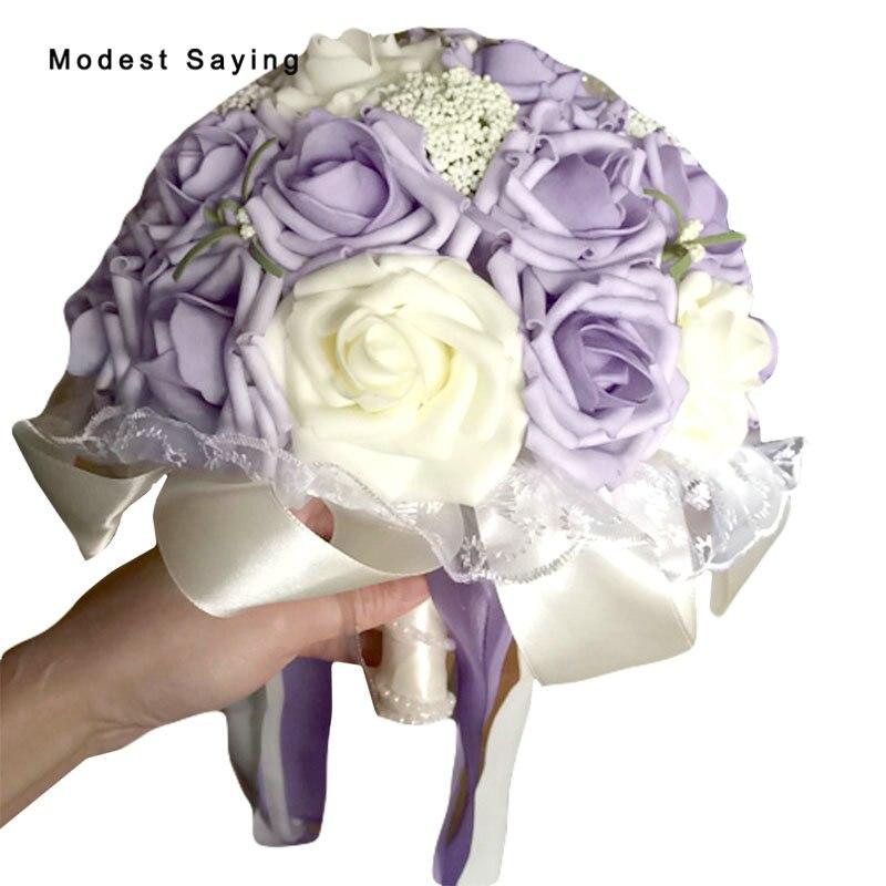 Paquete con caja, ramos de boda de perlas artificiales púrpura 2017, ramos de flores nupciales románticos, accesorios para boda, boda P3