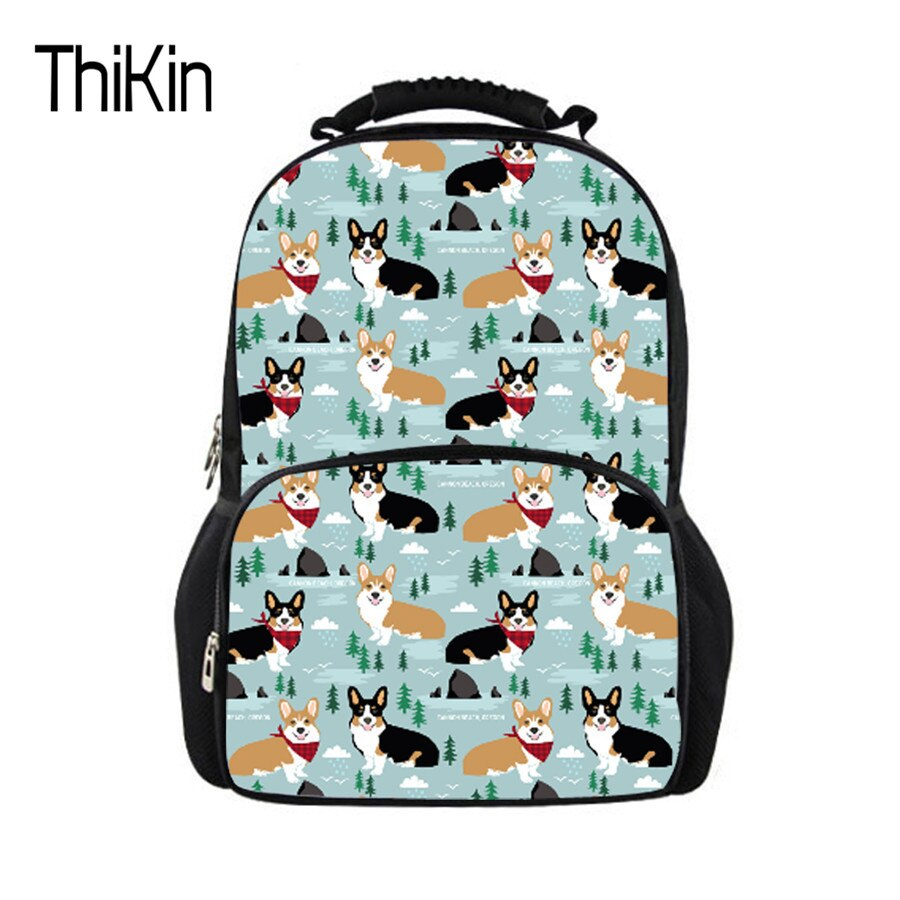 Mochila Casual THIKIN, portátil para niño y niña, Impresión de perro lindo Corgi, bolsa de viaje de alta calidad, Mochila grande