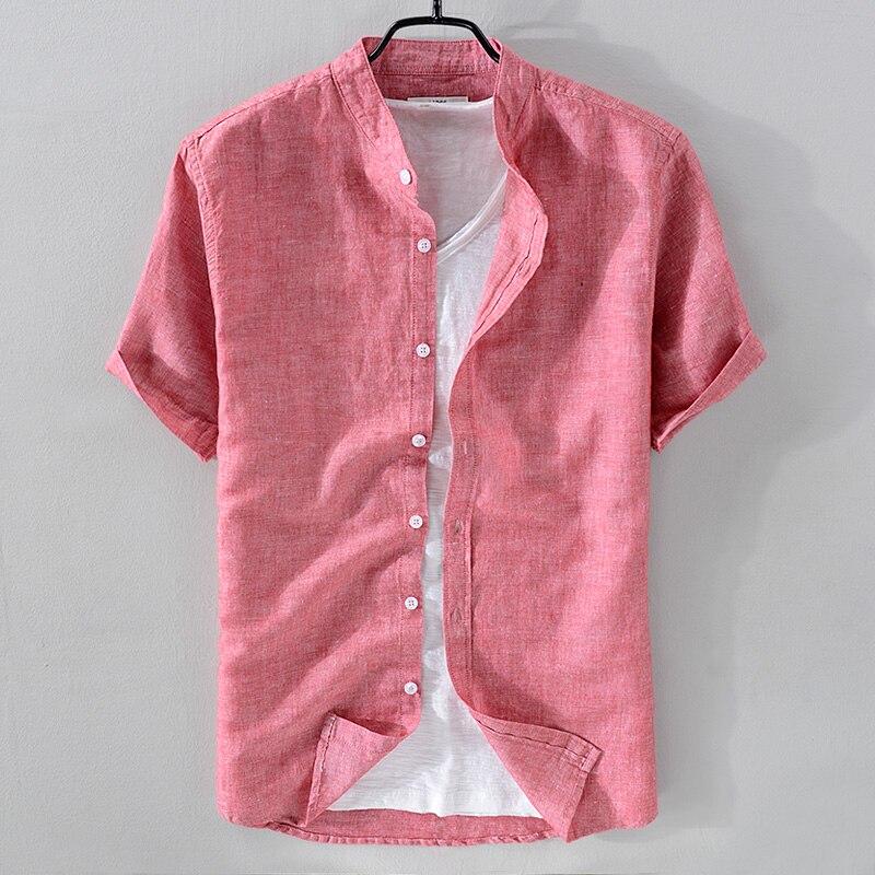 2018 nova chegada gola camisa de linho dos homens manga curta respirável camisa de algodão sólido coral-vermelho camisas masculinas chemise