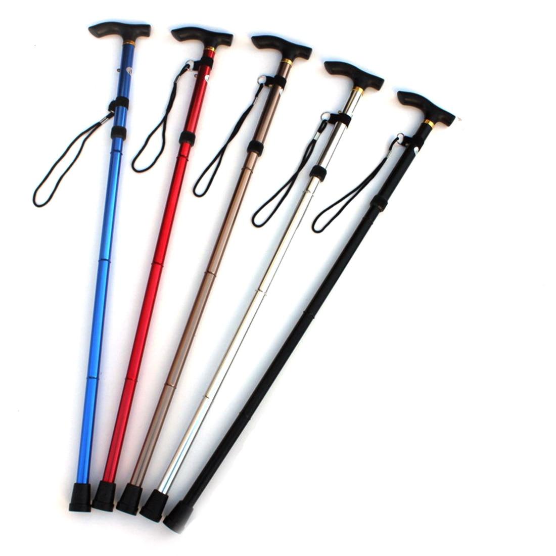 Bastón de senderismo ultraligero, bastón plegable de aleación de aluminio ajustable de...