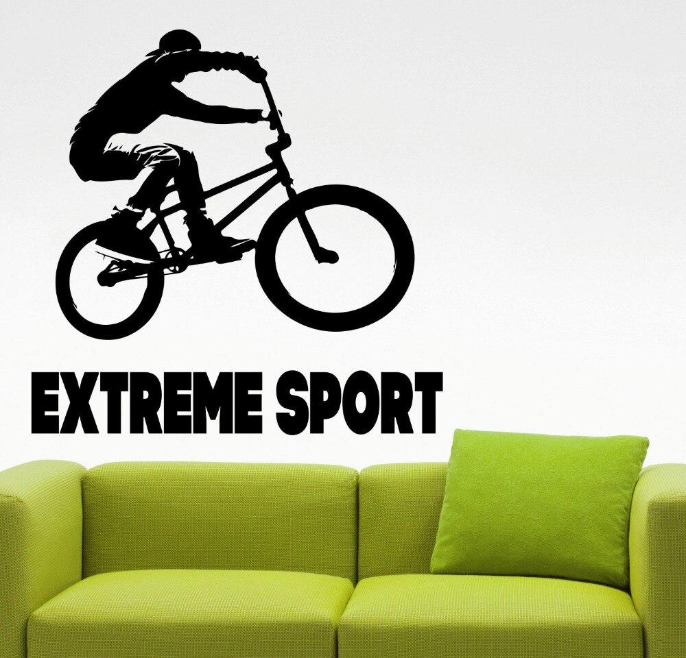 Calcomanía de pared BMX, calcomanías de pared deportes extremos, Estilo libre negro, salto, decoración del hogar, Mural artístico de pared de habitación para niños, papel tapiz extraíble BMX1