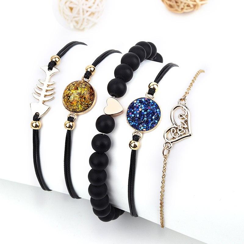 Moda de Primavera, pulsera Bohemia con forma de corazón, brazalete con cadena y eslabones para mujer, pulseras de oro con forma de hueso de pez, joyería para mujer