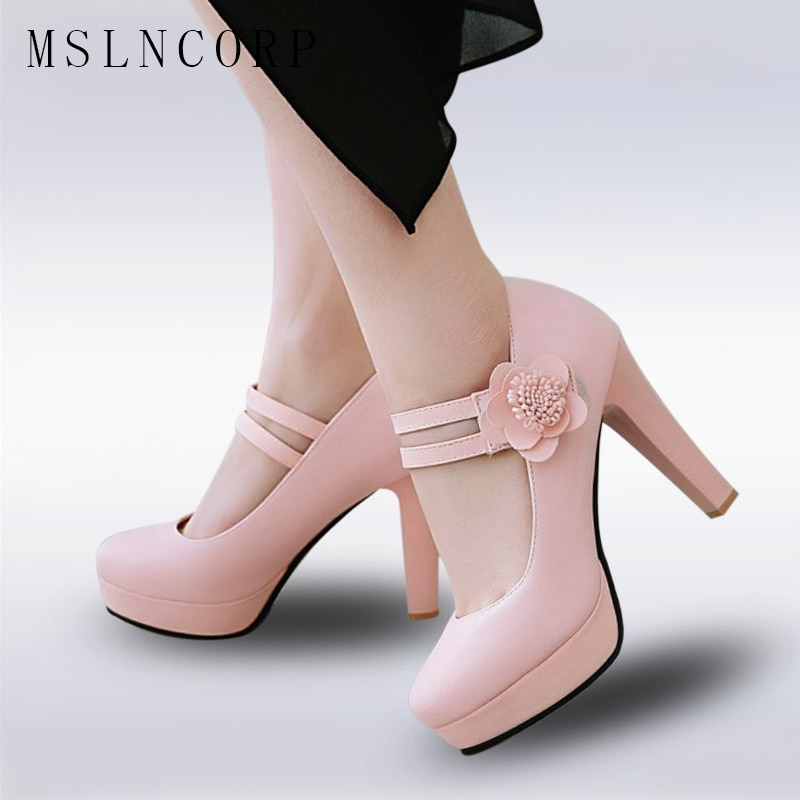 Plus Size 34-48 Woman High Heels Platform Shoes Sweet Princess Party Shoes 10cm shallow women Fashion Sexy pumps wedding shoes