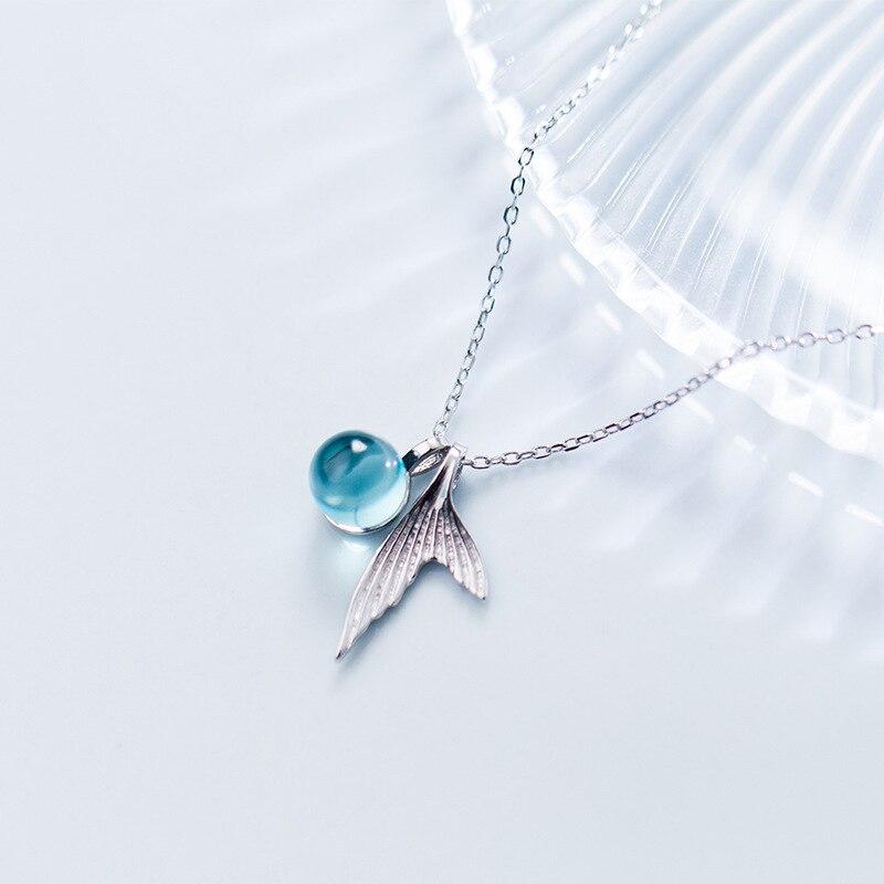 Collares auténticos de cola de sirena de plata de ley S925 con burbujas de lágrimas de cristal azul para mujeres y niñas envío gratis (SN203)