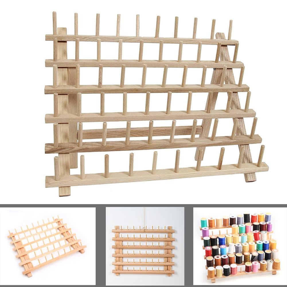 Sewing Tool Thread Rack Wooden Organizer Foldable Wood Sewing Thread Rack Holds Organizer Wall Mount Sewing Storage Holder