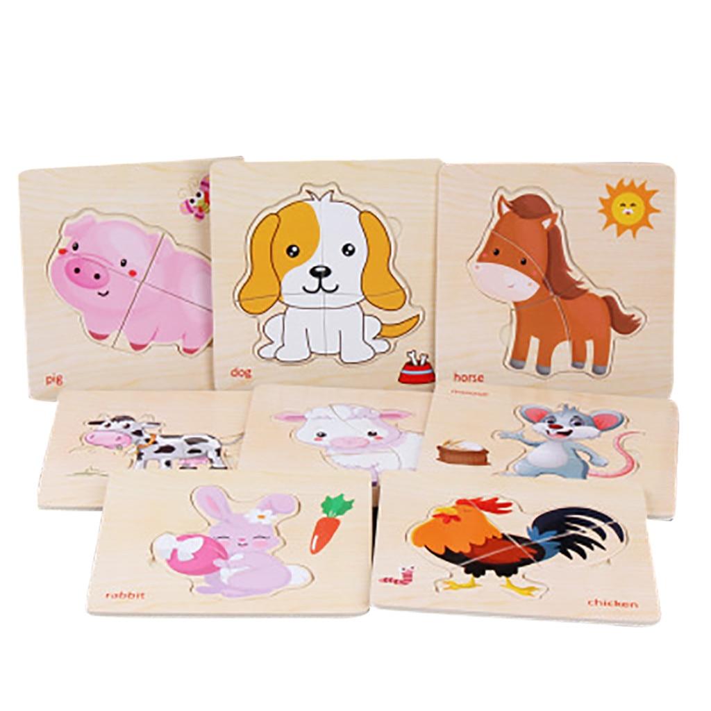 8 Uds. a juego de madera Animal rompecabezas de Desarrollo Educativo bebé niños juguete de entrenamiento 5,15