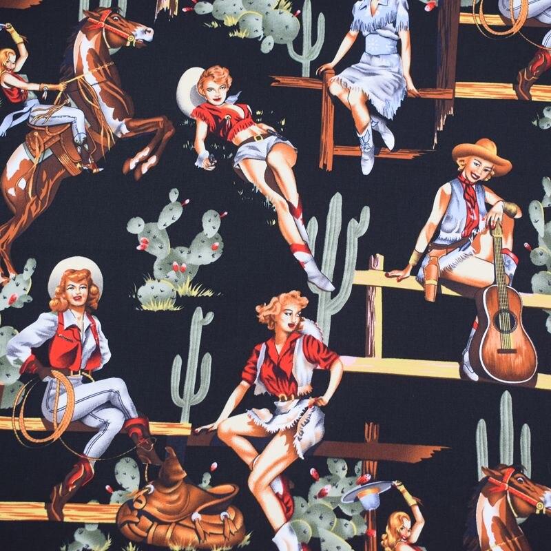 Black girl and cactus chintz elastic cotton comfort DIY fabric dress fabric free shipping
