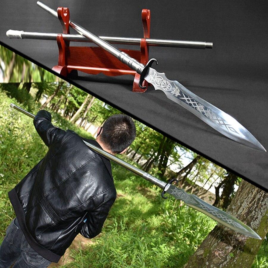 Mango de acero tradicional china Wushu lanza espada alto manganeso acero punta de lanza doble borde afilado al aire libre caza lanza larga