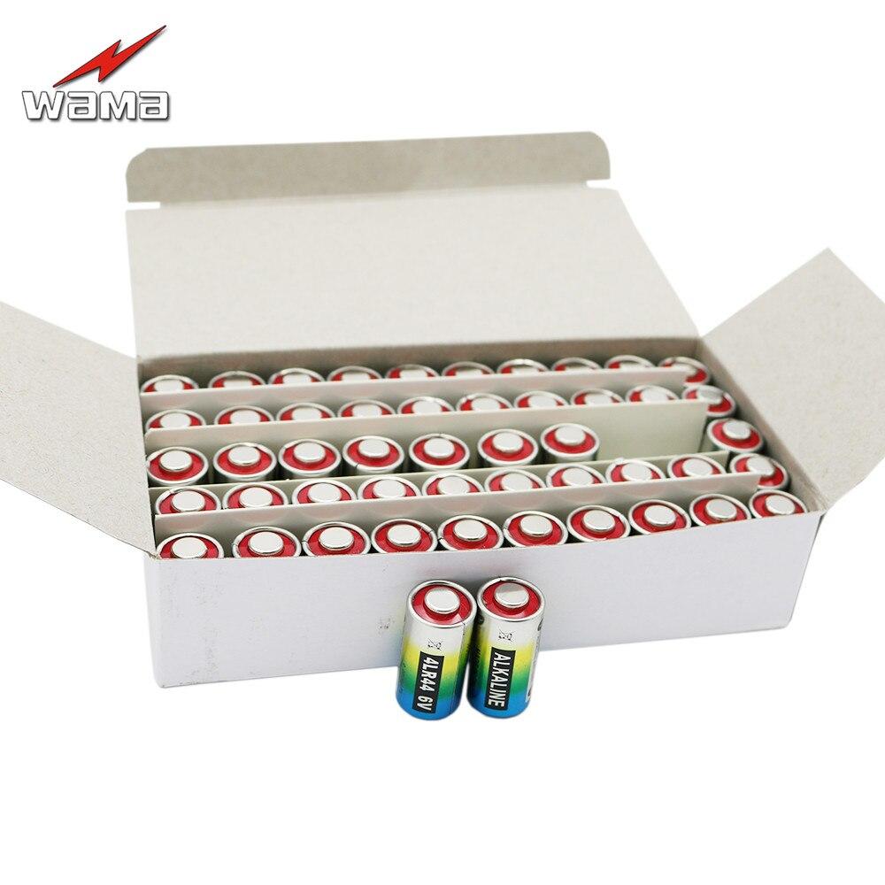 50 unids/caja Wama 4LR44 6V pilas alcalinas secas coche remoto relojes de juguete calculadora al por mayor Drop shipping 28A 4AG13 nuevo
