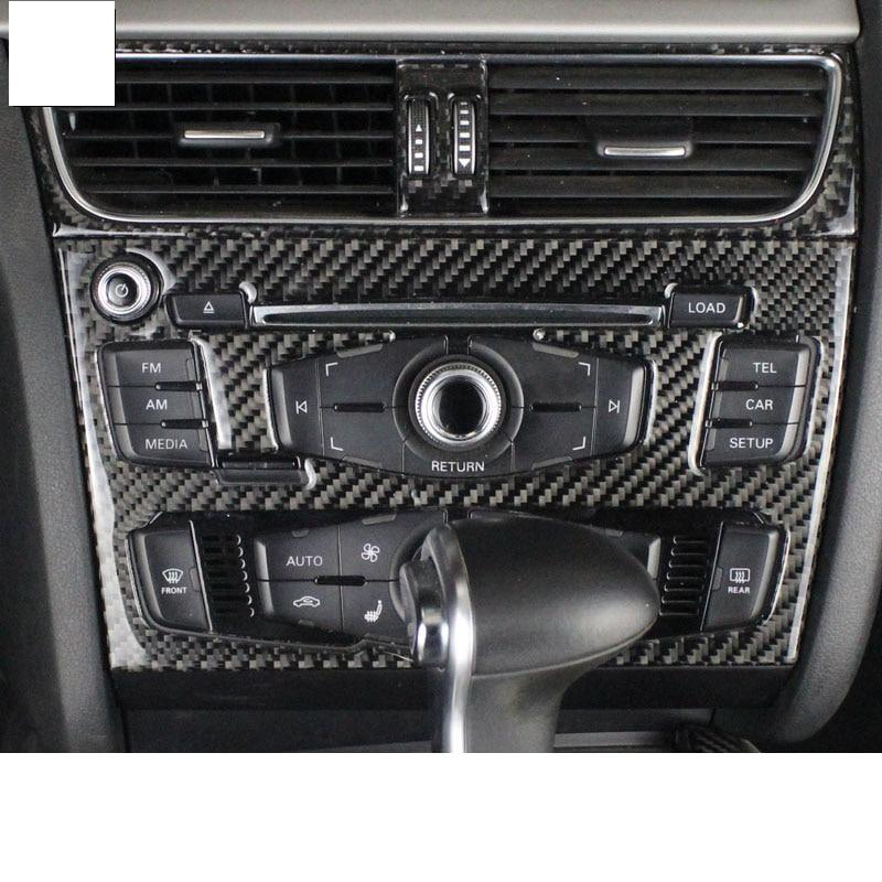 Lsrtw2017 de fibra de carbono coche Centro de control reproductor de cd panel adornos para audi a4 A5 2008, 2009, 2010, 2011, 2012, 2013, 2014, 2015, 2016 B8