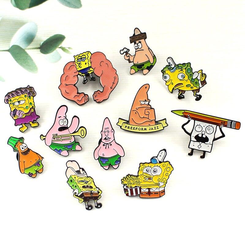 Desenhos animados anime personagem esponja bob squidward patrick estrela série broche batatas fritas muscle jazz música jaquetas crachá crianças amigos presentes