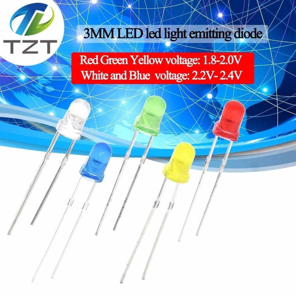 Kit surtido de LED redondos F3 de 3MM, diodo emisor de luz Ultra brillante, difuso, verde, amarillo, azul, blanco y rojo