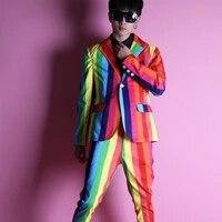 new rainbow color men slim suit jacket nightclub fashion stage costume hair stylist suits host photo studio mens blazer dress