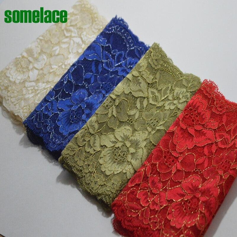 Garniture de robe de mariée élastique en dentelle   Rouge, vert, ~ teint, bleu, or, fil calico, décoration, garniture élastique en dentelle, jupe de mariée, 2yds/lot