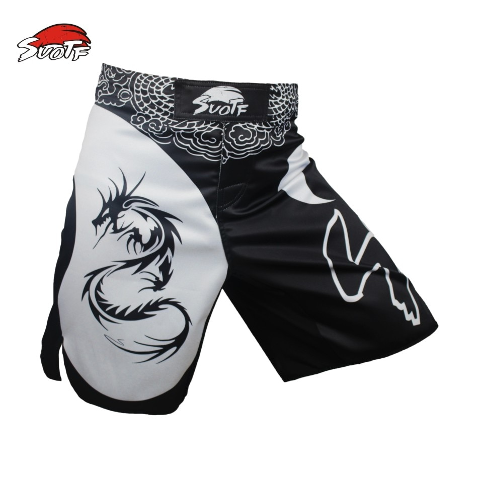 Suotf mma dragão boxe dominador movimento imagem algodão solto tamanho treinamento muay thai boxe mma shorts kickboxing shorts