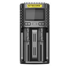 Nitecore UM2 USB ثنائي الفتحة شاحن QC الدوائر الذكية التأمين العالمي ليثيوم أيون AA 18650 20700 26500 26650 شاحن