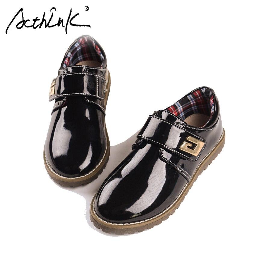 ActhInK Neue Jungen Echtes Leder Schuhe Kinder Formale Kleid Schuhe Jungen Stilvolle Hochzeit Leder Schuhe Kinder Polnischen Flache Schuhe