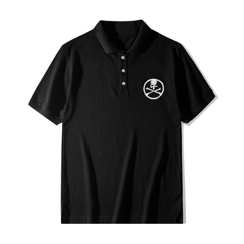 Nueva camisa tipo Polo a la moda de lujo 19ss para hombres Punk Skull bordado Mastermind Hip Hop Skateboard camiseta Polo de algodón # E3