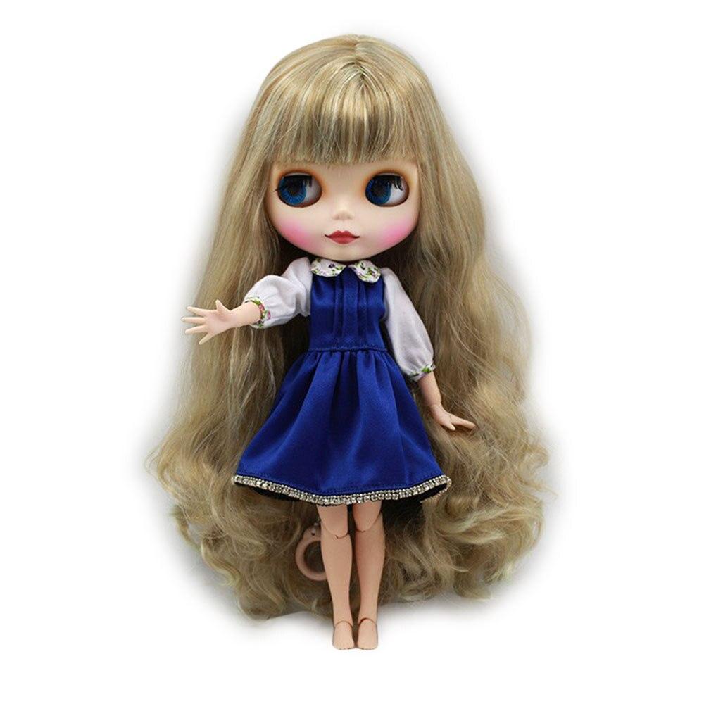 Кукла Blyth телесная с золотыми волнистыми длинными волосами и челкой 30 см игрушка