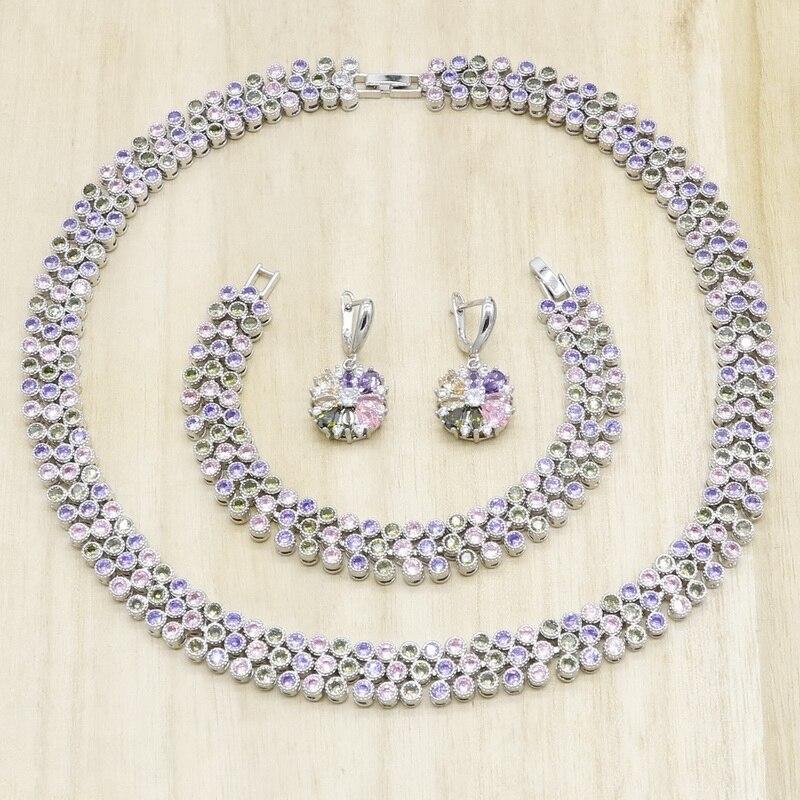 Multicolorido zircônia cor prata conjuntos de jóias para mulheres colar brincos pulseira aniversário presente