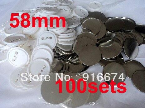 Envío Gratis, descuento, 58mm, 100 Sets, fabricante profesional de botones de insignia, materiales de suministro de botones con Pin trasero