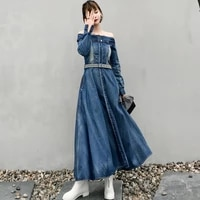 elegant women denim dress 2021 female slash neck long sleevesingle breasted ankle length off the shoulder blue jeans dress