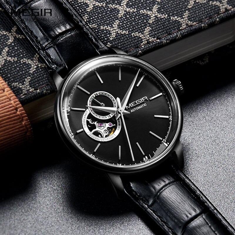 MEGIR-ساعة يد جلدية للرجال ، حزام جلدي ، ميكانيكية ، مقاومة للماء ، غير رسمية ، 5 بار ، 62057G-BK-1