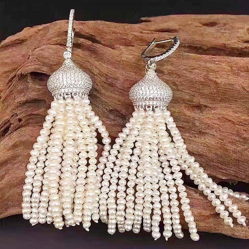 Pendientes de perlas de agua dulce blanco natural-CZ bañado en plata